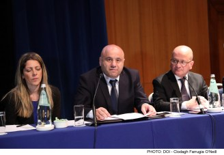 Parliamentary Secretary for Consumer Protection and Valletta 2018 Deo Debattista addresses a conference in connection with Data Protection Day