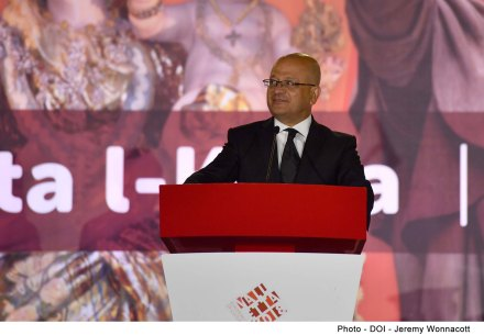 Minister for Justice, Culture and Local Government Owen Bonnici and Parliamentary Secretary for Consumer Protection and Valletta 2018 Deo Debattista deliver speeches at the 'Festa l-Kbira' concert Pjazza San Ġorg, Valletta
