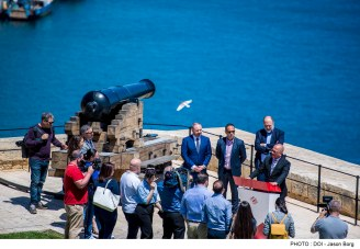 Minister for Justice, Culture and Local Government Owen Bonnici and Parliamentary Secretary for Consumer Protection and Valletta 2018 Deo Debattista participate in a Valletta 2018 press conference to launch the 'Pageant of the Seas'