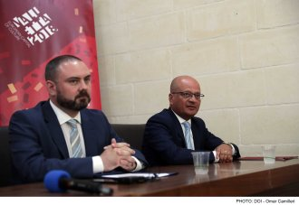 Minister for Justice, Culture, and Local Government Owen Bonnici and Parliamentary Secretary for Consumer Protection and Valletta 2018 Deo Debattista attend a press conference to present positive results achieved in the cultural sector in 2018